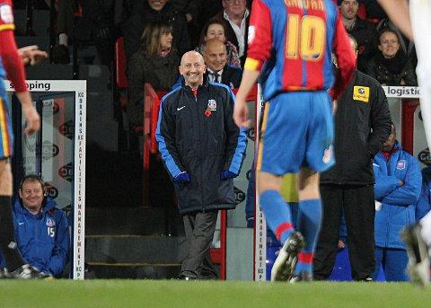 Happy chappy: Ian Holloway is all smiles as Palace crush Ipswich Town 5-0 in his first game in charge        SP71693