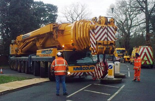 This Is Local London: A massive crane was brought in to lift in steel beams for Chislehurst Road Bridge