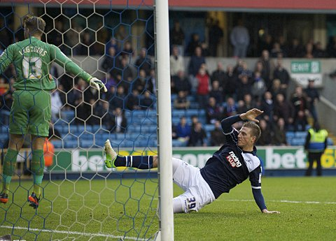 Chris Wood (above) was Millwall's double goal hero. PICTURE BY ALAN STANFORD.