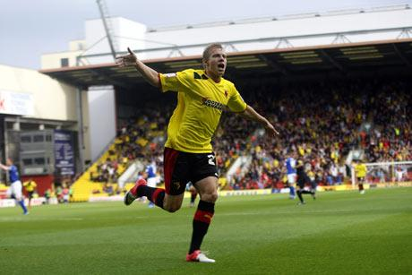 Matej Vydra moved on to 14 goals for the season following his latest brace on Saturday. Picture: Holly Cant