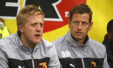Watford Under-18s coach Dave Hughes (right). Picture: Holly Cant