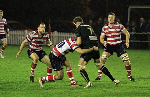 This Is Local London: Stopped: Rosslyn Park fly half Sam Katz halts Esher's Ian Kench on Friday night