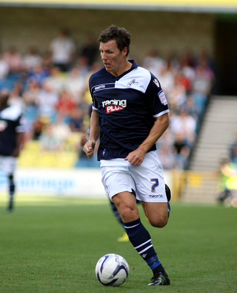 Darius Henderson playing for Millwall on the opening day of the season against Blackpool. PICTURE BY EDMUND BOYDEN.