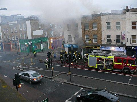 This Is Local London: New Cross takeaway Smokey Jerky up in smoke with 20 firefighters tackling blaze