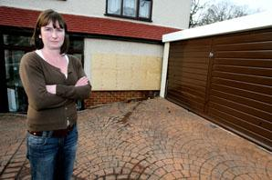 Melissa Crowhurst surveys the damage in Keynsham Avenue