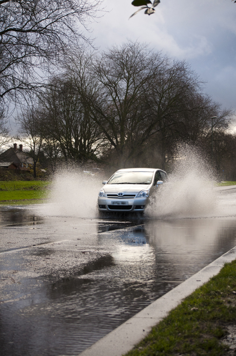Flooding in Longmead Road, Epsom on Christmas Day [picture: Judith Bellingham]