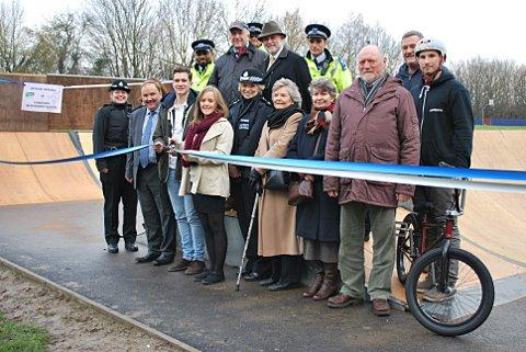 Bethany Archer and Nathan Bird cut the ribbon at the Tubbenden Recreation Ground skate park