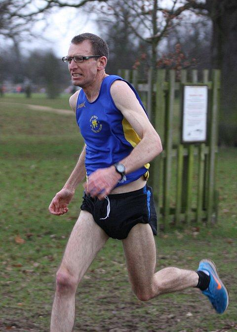 Winner: Team Bath's David Coales led the Bushy Park runners home on Saturday