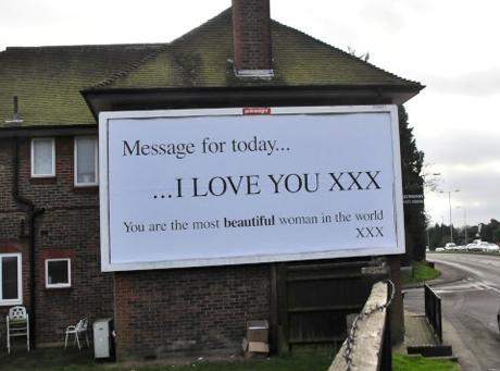 Mystery romantiic proclaims their love on giant billboard