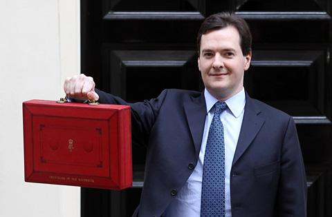 Chancellor of the Exchequer, George Osborne, with his famous red box