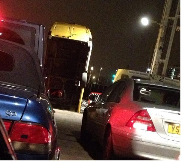 The van nosedived from the Woolwich Ferry upper deck (pic by _thuych)