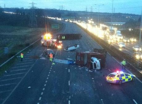 The scene after a car transporter overturned on the A2 near Gravesend. Picture by Dave Goodyear, @goodyhammer via Twitter