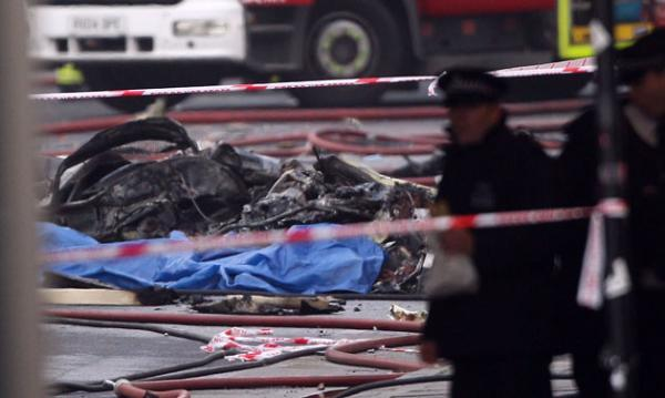 Helicopter wreckage in London