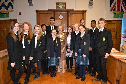 Students with mayor of Epsom and Ewell, Councillor Christine Long
