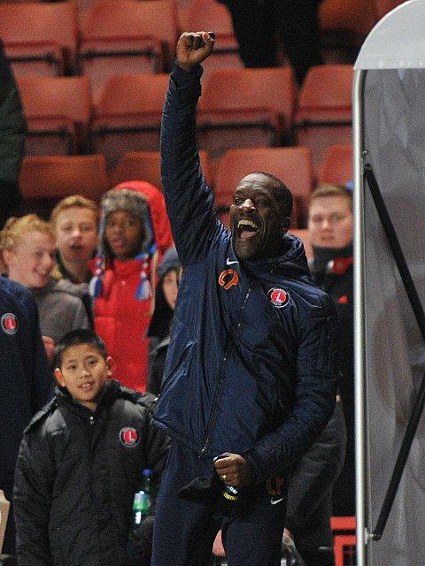 Chris Powell gives his tunnel salute to the fans at the final whistle. PICTURES BY KEITH GILLARD.