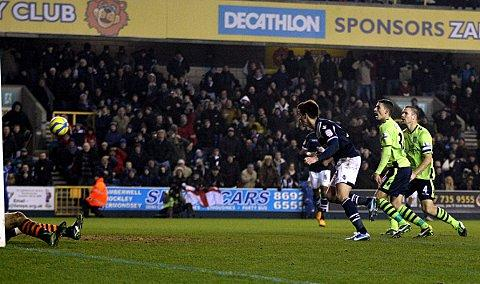 John Marquis heads in the winner against Villa. PICTURES BY EDMUND BOYDEN.