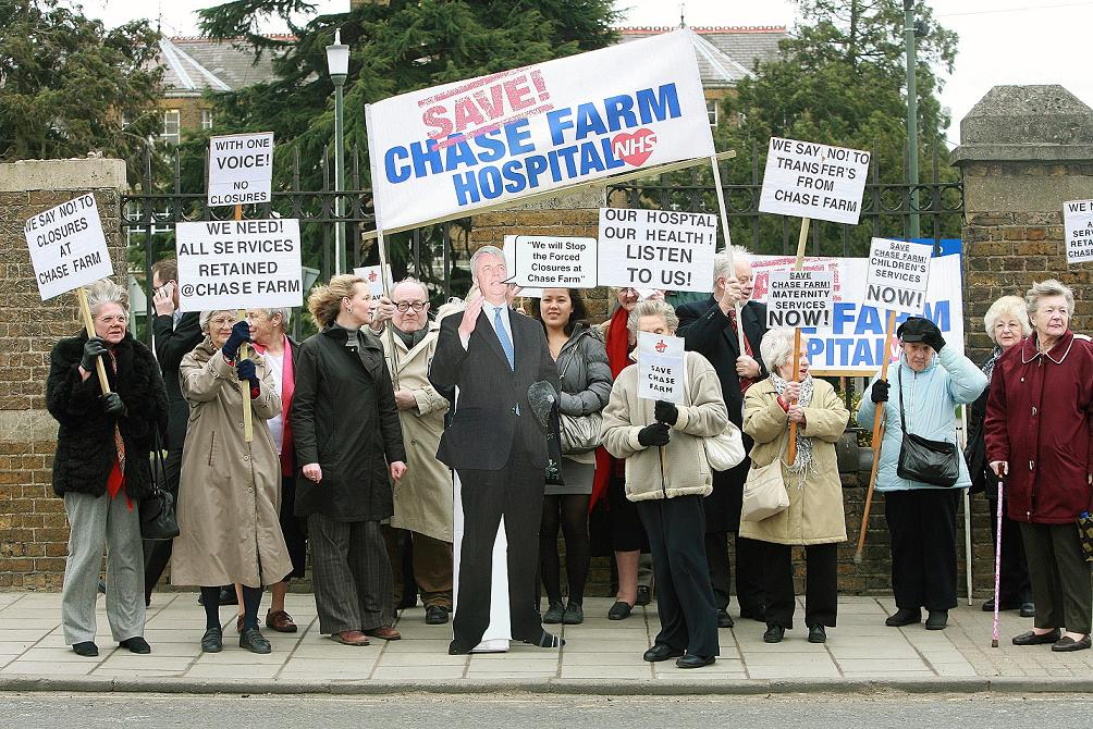 Protesters pictured in 2010 campaigning against Chase Farm Hospital closures
