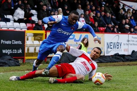 Moses Odubajo attacks during the O's win at Stevenage: Simon O'Connor
