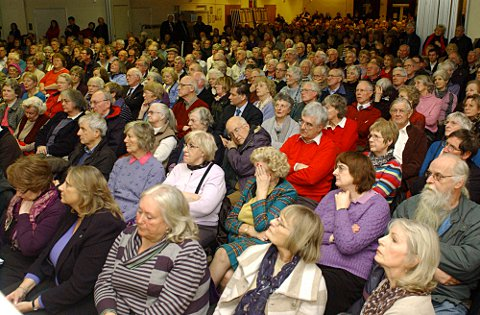 Hundreds pack-out school hall for meeting on threatened hospital's future