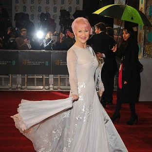 Dame Helen Mirren sported pink hair at the Baftas