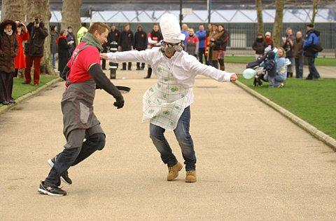 Greenwich businesses have stacks of fun with pancake race around Old Royal Naval College