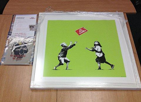 Original Banksy piece Wrong War and signed print No Ball Games were recovered by police in Greenwich