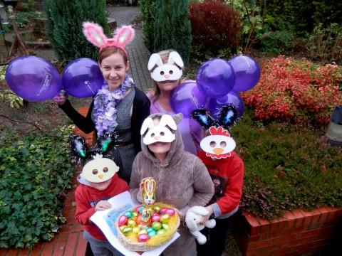 Hoppy days: Alexandra Shields (back) and Wendy Denty (front), with Ollie Swingler, the Easter bunny  and Joseph Swingler