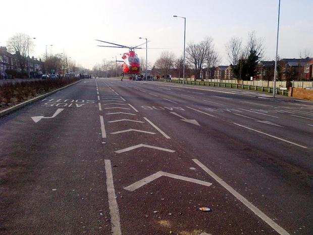 The air ambulance landed in North Circular Road yesterday. Photo by Ronnie Stevenson