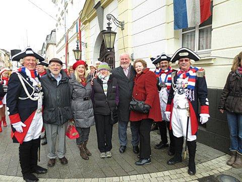 Bromley Town Twinning Association visitors in Neuwied: Richard Redden (second left), Susan Redden (fourth left), David Noble (fifth left) and Lynne Noble (sixth left). Third left is the chairwoman of the Neuwied town twinning association, Inge Gutl.