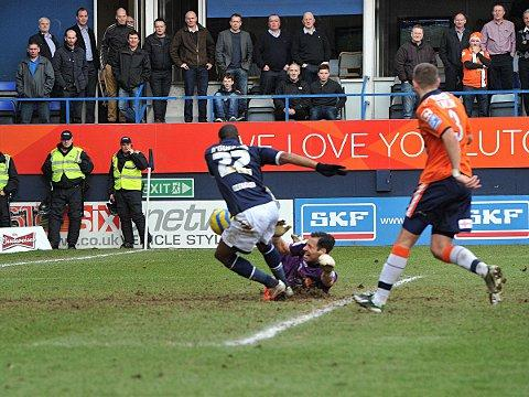 Dany N'Guessan scores Millwall's third and final goal in Saturday's 3-0 FA Cup win at Luton. PICTURE BY KEITH GILLARD.