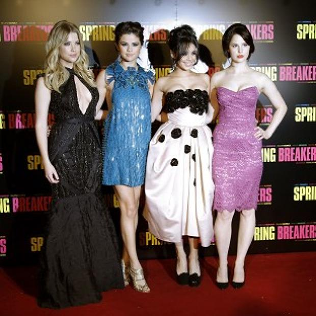 Ashley Benson, Selena Gomez, Vanessa Hudgens, and Rachel Korine at the Spring Breakers premiere in Paris