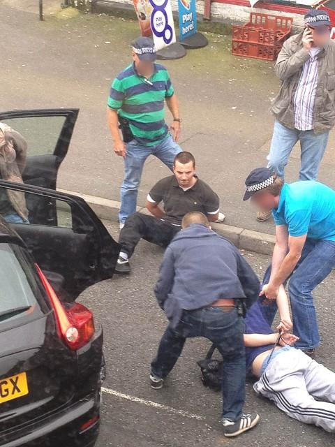 Armed police rammed the gang off the road in New Malden. Girry Richardson, top, and Charlie Critchley, bottom