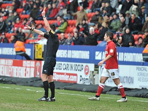 Yann Kermorgant is sent off against Forest last weekend. PICTURES BY KEITH GILLARD.