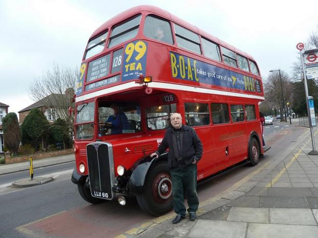 Jim Blake, organiser of North London & Essex Transport Enthusiasts Events by the vintage bus