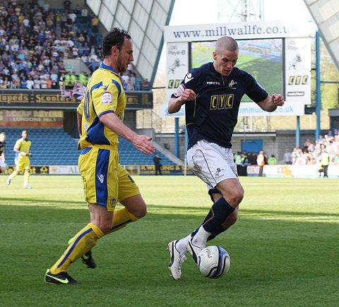 Steve Morison (right) in his Millwall days - ironically in action against Leeds United. PICTURE BY EDMUND BOYDEN.