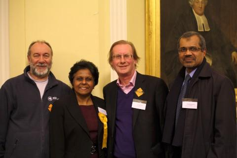 Leader of the council Derek Osbourne, Sushila Abraham, councillor Bob Steed, and Matthew Abraham