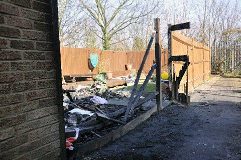 A fire engulfed two floors and a shed at 31 Bloomsbury Close