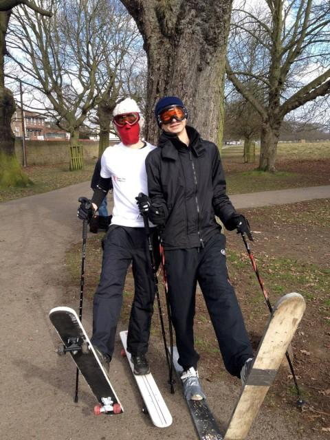 Bonkers: Alex Bloom and James Perkins took four hours to ski the course