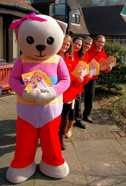 Bear necessity: Alice Bear with hospice workers