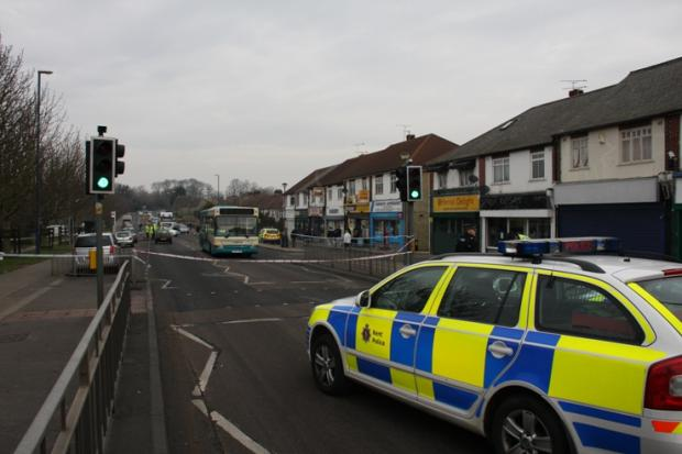 Crash scene in Rochester Road, Gravesend