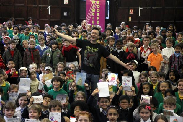 Author Steve Cole at Wimbledon Chase Primary School