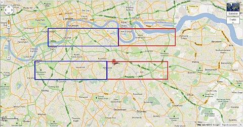 This Is Local London: The trial route has aircrafts flying in over the red boxes one week and the blue boxes the next