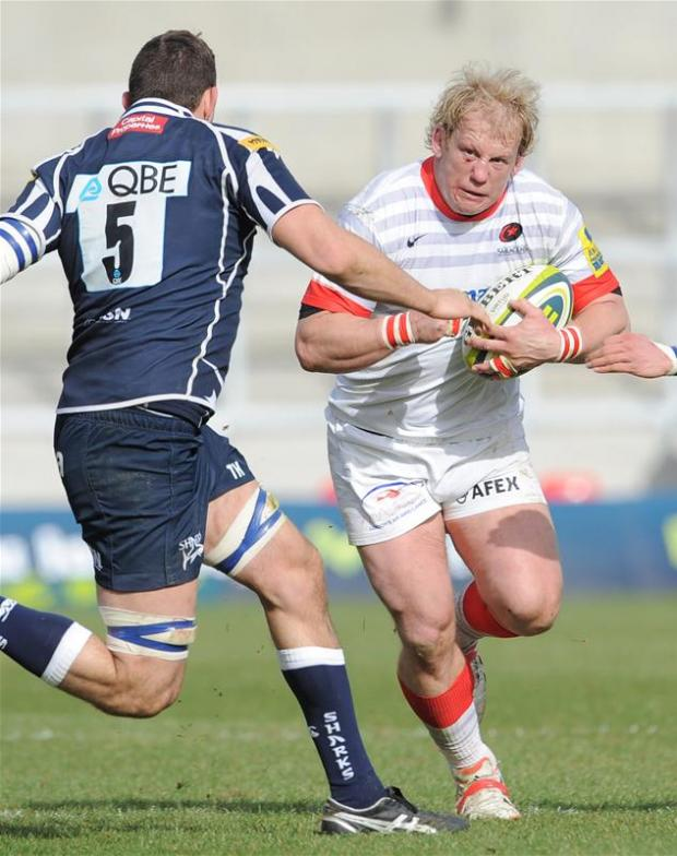 Saracens' Petru du Plessis against Sale Sharks. Picture: Action Images