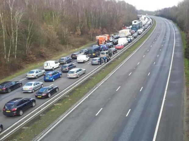 The scene northbound on the A3 this morning. Picture from Chris Keegan