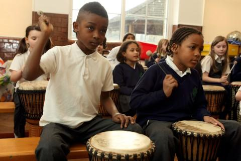 Fun with drums: Children enjoyed the workshop