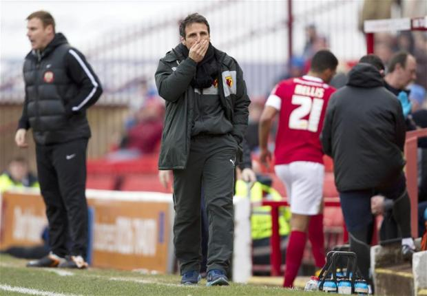 Gianfranco Zola on the touchline at Oakwell. Picture: Action Images