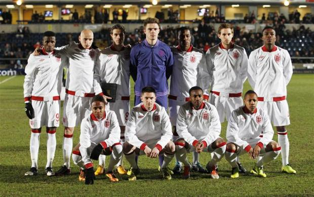 Nathaniel Chalobah took his place in the England pre-match team shot. Picture: Action Images