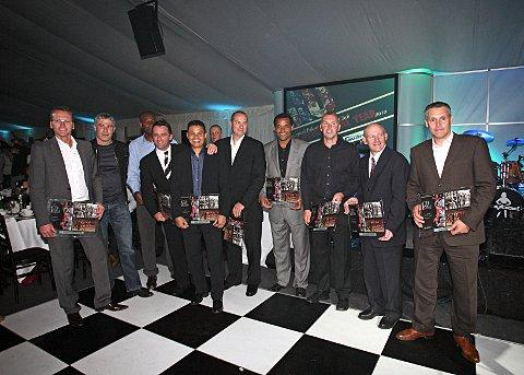 Back to his roots: Eddie McGoldrick, fourth from the left, with other Palace legends at the player-of-the-year awards three years ago