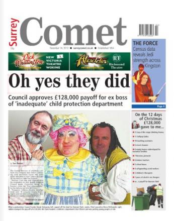 The Surrey Comet's 'panto pay-off' front page