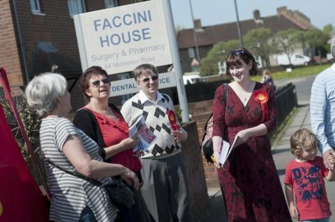 Carshalton and Wallington Labour Party protesting outside CCG headquarters on Tuesday